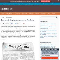 Comment ajouter plusieurs colonnes sur WordPress