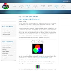 Color Systems - RGB & CMYK