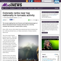 Colorado ranks near top nationally in tornado activity