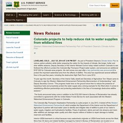 Colorado projects to help reduce risk to water supplies from wildland fires