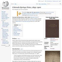 Colorado Springs Notes, 1899–1900