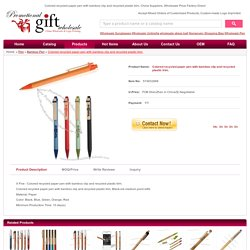 Colored recycled paper pen with bamboo clip and recycled plastic trim. Factory Direct #574832888