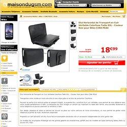 Colorfone BLHTFL03 - Etui Horizontal de Transport en Cuir Véritable Colorfone Taille XXL - Couleur Noir pour Wiko CINK PEAX
