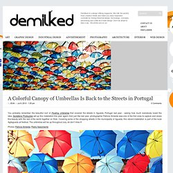 Umbrellas above portugal - A Colorful Canopy of Umbrellas Is Back to the Streets in Portugal