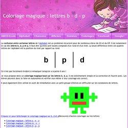 Coloriage magique : lettres b - d - p - ABCD Ecole
