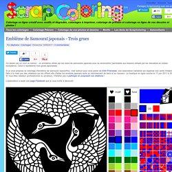 Coloriage Emblême de Samouraï japonais - Trois grues