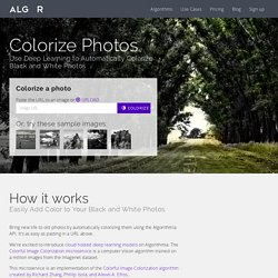 Algorithmia - Recoloriser les photos N&B