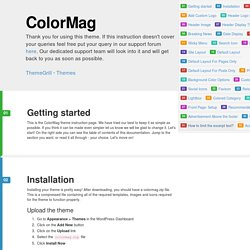 ColorMag Theme Instructions