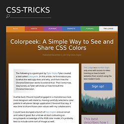 Colorpeek: A Simple Way to See and Share CSS Colors