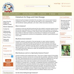 Colostrum for Dogs and Cats Dosage