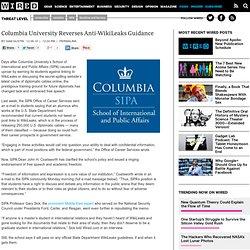Columbia University Reverses Anti-Wikileaks Guidance
