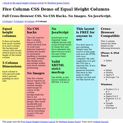 5 Column CSS Demo - Equal Height Columns with Cross-Browser CSS