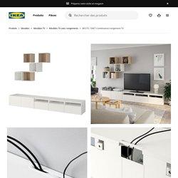 BESTÅ / EKET Combinaison rangement TV - blanc, effet chêne blanchi