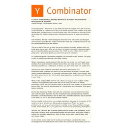 Y Combinator: Elementary Worldly Wisdom