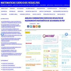 ANÁLISIS COMBINATORIO EJEMPLOS RESUELTOS DE RAZONAMIENTO MATEMÁTICO DE SECUNDARIA EN PDF