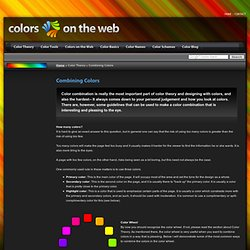 Combining Colors - Analog, Complementary, Triad - Colors on the Web