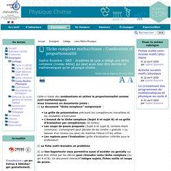 Tâche complexe maths/chimie : Combustion et proportionnalité - [Physique et Chimie - académie de Lyon]