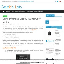 Come entrare nel Bios UEFI Windows 10, 8.1 e 8
