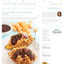 3-Ingredient BBQ Chicken Stuffed Sweet Potatoes