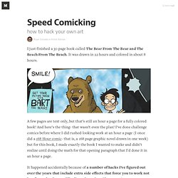 Speed Comicking — Artist Advice