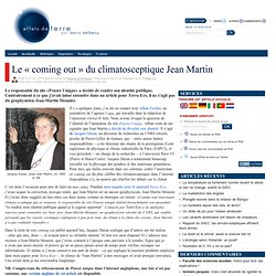 Le « coming out » du climatosceptique Jean Martin