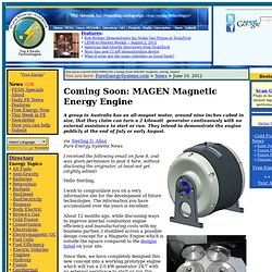 Coming Soon: MAGEN magnetic energy engine