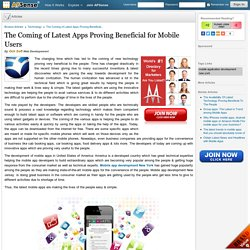 The Coming of Latest Apps Proving Beneficial for Mobile Users by Och Soft