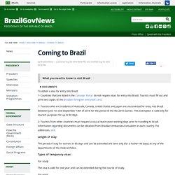 Coming to Brazil — BrazilGovNews