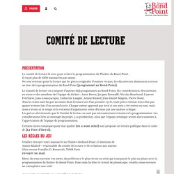 comité de lecture - Théâtre du Rond-Point Paris