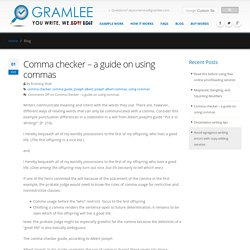 Comma checker - a guide on using commas by Gramlee