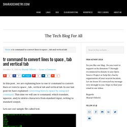 tr command to convert lines to space , tab and vertical tab