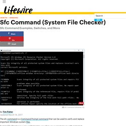 Sfc Command Examples and Switches (System File Checker)
