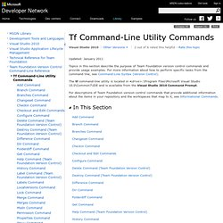 Tf Command-Line Utility Commands
