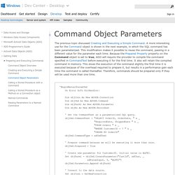 Command Object Parameters