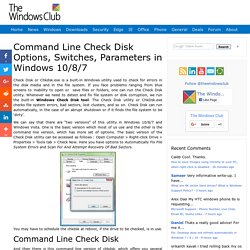 Command Line Check Disk Options, Switches, Parameters
