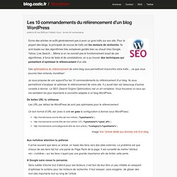 Les 10 commandements du référencement d'un blog WordPress