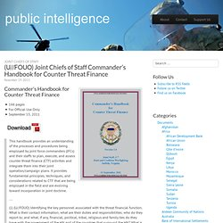FOUO) Joint Chiefs of Staff Commander's Handbook for Counter Threat Finance