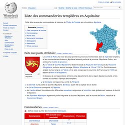 Liste des commanderies templières en Aquitaine