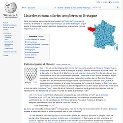 Liste des commanderies templières en Bretagne