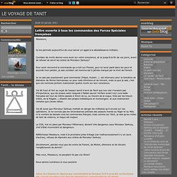 Lettre ouverte à tous les commandos des Forces Spéciales françaises - Le voyage de TANIT