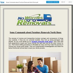 Some Commands about Furniture Removals North Shore