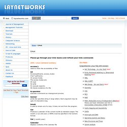 Linux Commands, Linux Commands Summary, Free Linux Commands Summary, Unix Commands, Unix Commands Summary - Laynetworks