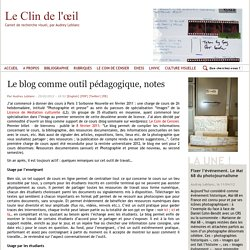 Le blog comme outil pédagogique, notes