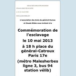 programme commémoration Esclavage 18 H vendredi 10 mai 2013 pl. du général-Catroux Paris 17e métro Malesherbes