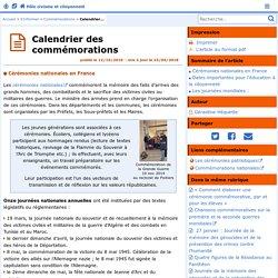 Calendrier des commémorations - Pôle civisme et citoyenneté