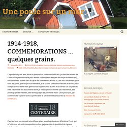 1914-1918, COMMEMORATIONS … quelques grains.