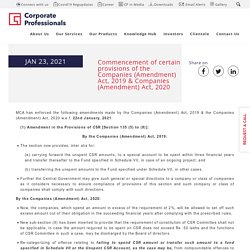Commencement of certain provisions of the Companies Act, 2019 & 2020