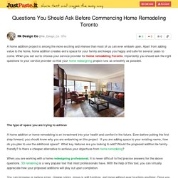 Questions You Should Ask Before Commencing Home Remodeling Toronto