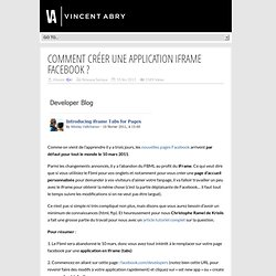 Comment créer une application iFrame Facebook ?
