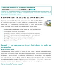 Comment faire baisser le prix de sa construction?